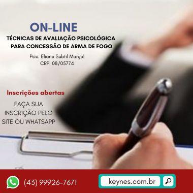 ON-LINE -TÉCNICAS DE AVALIAÇÃO PSICOLÓGICA PARA POSSE DE ARMA
